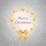 Christmas wreath made of golden stars Stock Photo