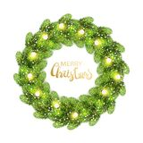 Christmas wreath made of green pine branches. With light bulbs string and shining snowfkakes. Merry Christmas lettering text. Fir tree wreath isolated on white Royalty Free Stock Photography