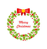 Christmas Wreath Made of Holly Berries Stock Images