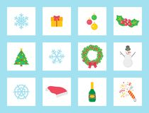 Christmas Wreath Made of Mistletoe and Bow Icons vector illustration