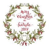 Christmas wreath made of mistletoe Royalty Free Stock Image