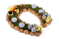 Christmas wreath made of moss in the shape of a horseshoe Royalty Free Stock Image