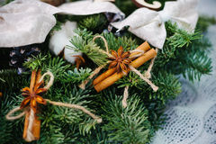 Christmas wreath made of natural fir branches Stock Photos
