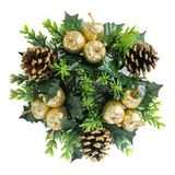 Christmas wreath made with natural pine cones, glitter, artificial golden apples and holly, isolated. On white stock images