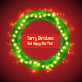Christmas Fir Wreath Circle Banner stock photos
