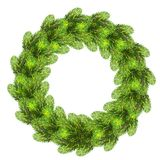 Christmas wreath made of realistic pine tree branches. Green round fir tree isolated on white background Stock Photo