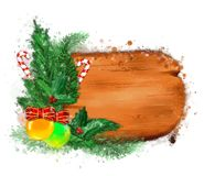 Christmas banner with fir branches. stock photos