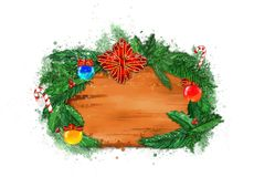 Christmas banner with fir branches. stock image
