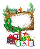 Wooden banner with gifts and bullfinches. stock photos