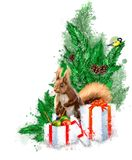 Christmas illustration with fir, gifts and squirrel. royalty free stock photos