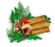 Wooden banner in the snow with a squirrel. stock images