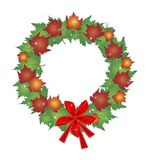 Christmas Wreath of Maple Leaves and Red Bows Royalty Free Stock Photo