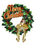 Christmas Wreath with `Merry Christmas` Text stock photos