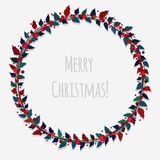 Christmas wreath with mistletoe. Vector wreath for Christmas with leaves and berries Royalty Free Stock Images