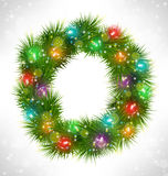 Christmas wreath with multicolored glassy led Christmas lights g Royalty Free Stock Photo