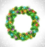 Christmas wreath with multicolored glassy led Christmas lights g Royalty Free Stock Photos