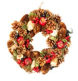 Christmas wreath with natural decorations. Isolated on white background stock photos