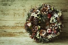 Christmas wreath with natural elements Stock Photography