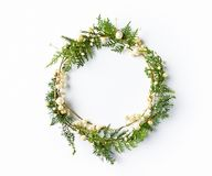 Christmas wreath with natural evegreen twigs. Flatlay. Copy space Royalty Free Stock Image