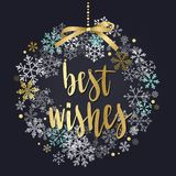 Christmas wreath, new year decoration with lettering. Stock Photos