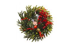 christmas wreath new year isolated on white background. beautiful spruce wreath with red flowers, balls, berries and stars stock photography