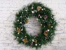 Christmas wreath new year on texture background. stock image