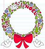 Christmas Wreath Notebook Doodles. Christmas Wreath made out of Notebook Doodles of Holly Leaves and Berries, Presents, Doves, peace sign, Candy Cane, Snowflakes Stock Photos