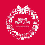 Christmas Wreath Of Shopping Icons. Red Back. Stock Images