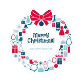 Christmas Wreath Of Shopping Icons. White Back. Royalty Free Stock Photography