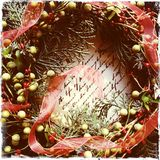 Christmas wreath with old handwriting Stock Image