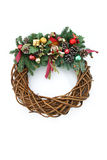 Christmas Wreath On White Royalty Free Stock Images