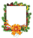 Christmas wreath, orange bow and ribbons Stock Image