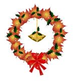 Christmas Wreath of Orange Maple with Golden Bells. Christmas Wreath of Green Maple Leaves  Decorated with Red Bows, Stars, Holly Leaves and Golden Bells, Sign Stock Photos