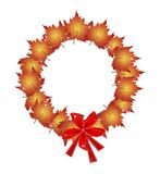 Christmas Wreath of Orange Maple Leaves and Bows Stock Photos
