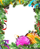 Christmas wreath with orange and purple baubles. Orange and purple Christmas baubles with ribbons and fir tree branches on white background vector illustration