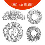 Christmas wreath ornament decoration set vector sketch Stock Images