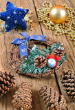 Christmas wreath, ornament on a wooden table Royalty Free Stock Photos