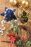 Christmas wreath, ornament on a wooden table Stock Photos