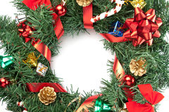 Christmas wreath with ornaments Royalty Free Stock Photos