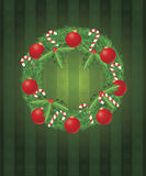 Christmas Wreath with Ornaments and Candy Cane Stock Photography