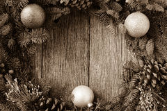 Christmas Wreath with ornaments and pine cones Royalty Free Stock Images