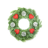Christmas Wreath with Ornaments on White Royalty Free Stock Images