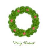 Christmas wreath over white background stock illustration