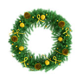 Christmas wreath  over white 3d rendering. Christmas wreath with baubles, fir cones, ribbons and bows  over white 3d rendering Stock Image