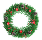 Christmas wreath  over white 3d rendering Royalty Free Stock Image