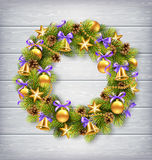 Christmas Wreath with Pine Branches, Christmas Balls, Jingle Bel Stock Photo