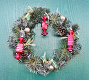 Christmas wreath of pine branches hanging on the door. Stock Images