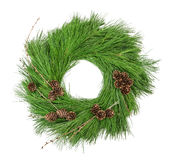 Christmas wreath pine cones isolated on white Royalty Free Stock Images