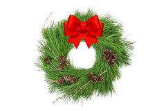 Christmas wreath pine cones red ribbon bow Stock Photo