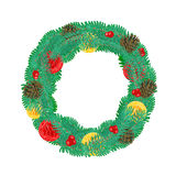 Christmas Wreath with pine cones vector Royalty Free Stock Photography